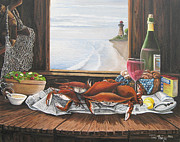 Crabs Paintings - Passion of the Sea by Toni  Thorne