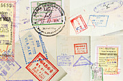 Tim Hester Prints - Passport Stamps Background Print by Tim Hester