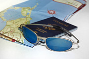 Gear Prints - Passport sunglasses and map Print by Amy Cicconi