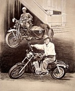 Motorcycle Cowboy Prints - Past and Present Print by Karen Barton