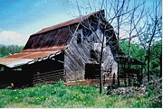 Red Roofed Barn Metal Prints - Past Life Metal Print by Glenda Barrett