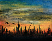 Canadian Geese Pastels - Past the Black Spruce by R Kyllo