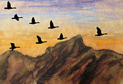 Wings Artwork Mixed Media Prints - Past the Peaks Print by R Kyllo