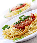 Nutrition Photos - Pasta and tomato sauce by Elena Elisseeva