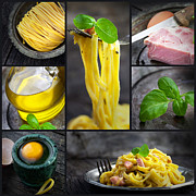 Healthy Herbs Posters - Pasta carbonara collage Poster by Mythja  Photography