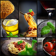 Spaghetti Prints - Pasta collage Print by Mythja  Photography