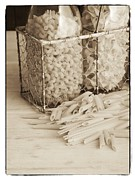 Basket Photo Metal Prints - Pasta Sepia Toned Metal Print by Edward Fielding