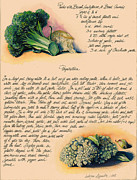 Fresh Vegetables Painting Posters - Pasta with Broccoli and Cauliflower Poster by Alessandra Andrisani