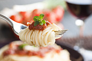 Spaghetti Prints - Pasta with ingredients Print by Mythja  Photography