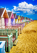 Beach Hut Posters - Pastel Beach Huts 2 Poster by Chris Thaxter
