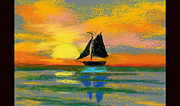 Sailboat Ocean Pastels Posters - Pastel Boat Poster by Anne Marie Brown