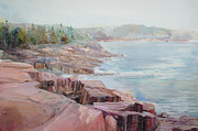 Rocky Coast Paintings - Pastel Cove by P Anthony Visco