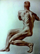 Monochromatic Study Prints - Pastel Figure Study Print by Ashley Nesbit