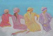 Dresses Pastels Prints - Pastel Hats by jrr Print by First Star Art