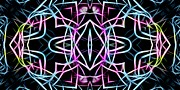 Manley Prints - Pastel Kaleidoscope on Black  Print by Gina Manley