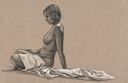 Nude Drawings Prints - Pastel Morning Print by Dirk Dzimirsky