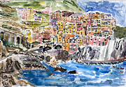 Riomaggiore Paintings - Pastel Patchwork Village by Michael Helfen