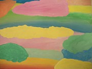 Chakra Rainbow Painting Originals - Pastel Rainbow Clouds by Leonardo Vidal