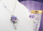 Jewelry Originals - Pastel Rose and Lily Bouquet on Chalcedony Necklace with Two Pairs of Matching Earrings  by WDM Gallery
