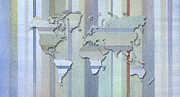 Geography Pastels Framed Prints - Pastel Stripes World Map Framed Print by Hakon Soreide