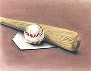 Mlb Baseball Drawings Originals - Pastime by Troy Levesque
