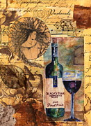 Red Wine Bottle Mixed Media Prints - Pastorale Print by Tamyra Crossley