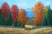 Autumn Scenes Painting Metal Prints - Pasture Gate In Autumn Metal Print by Frank Wilson