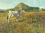 Cow Boy Paintings - Pasture in Pietramala by Telemaco Signorini
