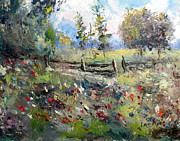 Pasture Painting Posters - Pasture With Fence Poster by Lee Piper