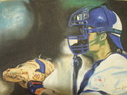 Baseball Drawings Posters - Pat Borders Poster by James Holding