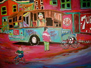 Michael Litvack Paintings - Patates Frites...Chip Wagon by Michael Litvack