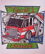 Richie Montgomery Posters - Patch Design for the Cambridge Fire Dept. 1 Poster by Richie Montgomery