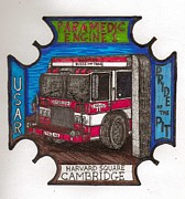 Richie Montgomery Posters - Patch Design for the Cambridge Fire Dept. 3 Poster by Richie Montgomery