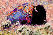 Shed Digital Art Metal Prints - Patchwork Buffalo Metal Print by Terril Heilman