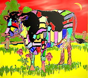 Joyce Dickens Metal Prints - Patchwork Cow Metal Print by Joyce Dickens