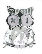 Pen And Ink Drawing Digital Art Metal Prints - Patchwork Owl Metal Print by Amanda Bright