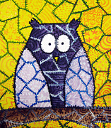 Trendy Posters - Patchwork Owl - Purple Poster by Stacey Clarke