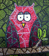 Birds Art - Patchwork Owl - Red by Stacey Clarke