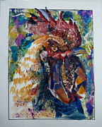 Torn Painting Framed Prints - Patchwork Rooster Framed Print by P Maure Bausch