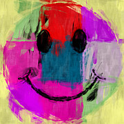 Smiley Face Framed Prints - Patchwork Smiley Face Framed Print by David G Paul