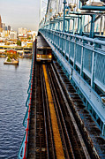 Ben Franklin Bridge Prints - Patco Train on the Ben Franklin Bridge Print by Bill Cannon