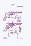Drawn Framed Prints - Patented Revolver in Purple Framed Print by Nomad Art And  Design