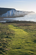 Seaford Photo Framed Prints - Path along Seaford Head towards Seven Sisters Framed Print by Matthew Gibson