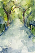 Trees Prints - Path Conservatory Garden Central Park Watercolor Painting Print by Beverly Brown Prints