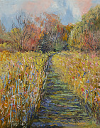 Michael Painting Posters - Path in the Meadow Poster by Michael Creese