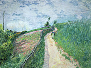 Apron Painting Framed Prints - Path Leading to Ville DAvray Framed Print by Alfred Sisley