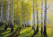 Birch Painting Acrylic Prints - Path to autumn Acrylic Print by Veikko Suikkanen