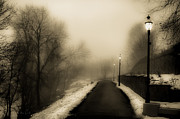 Streetlights Prints - Path To Bonnie Park Print by Bob Orsillo