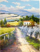 Grapevines Paintings - Path to The Villa by David Kim