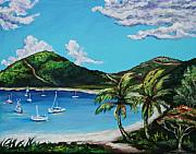 Caribbean Painting Framed Prints - Path to White Bay  Framed Print by Eve  Wheeler